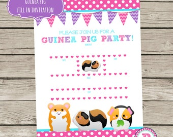 Guinea Pig Birthday Party Fill In the Blank style Party Invitations Instant Download 5x7 size