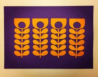 Orla Kiely Orange Stem inspired papercut