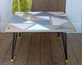 Geometric wooden coffee table - hairpin leg table - contemporary coffee table - painted wooden table - pink white grey natural wood finish