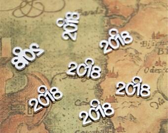 50pcs year 2018 Charms Silver tone 2018 charm pendant 9x13mm ASD2552
