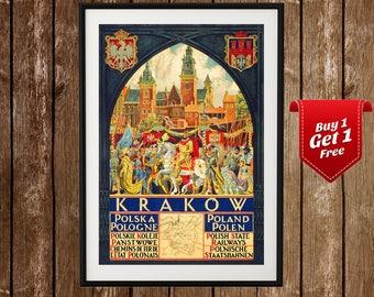 Krakow Vintage Poster - Crakow Print, Krakow Print, Krakow Poland, Polska, Poland Poster, Krakow Wall Art, Polish Print, Vintage Poland