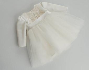 EMILLY baptism dress, long sleeve christening dress, long sleeves baptism dress, ivory baby dress long sleeve, ivory christening dresses