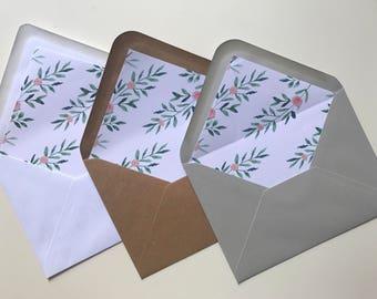 Leafy Green Botanical Envelope liner - Watercolour Peach Floral - Rustic Wedding Envelope - Wedding Stationery