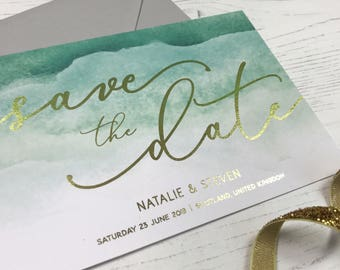 Green & Gold Save the Date, Green Ombre Save the Date, Modern Save the Date, Wedding Announcement, Gold Foil