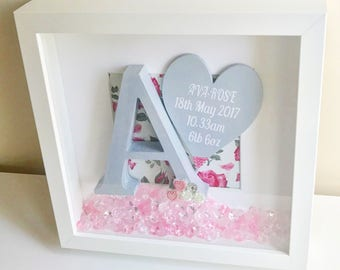 Wooden Initial & Birth Stat Frame