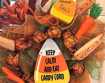 Keep Calm and Eat Cany Corn Deco Pol Mesh Wreath