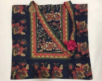 blue and red floral batik cotton tote bag