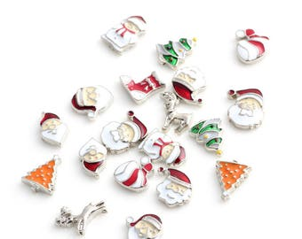20pcs Christmas ornaments Mixed Floating Locket charms Enamel Charms for Magnetic Glass Locket Living Memory Glass Locket Accessories