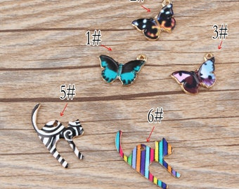 10pcs/lot Tiny Animal Cat Charms Pendant ,Oil Butterfly Charm Diy Accessories,Phone/ Bracelet/ Necklace Pendants, Findings Jewelry
