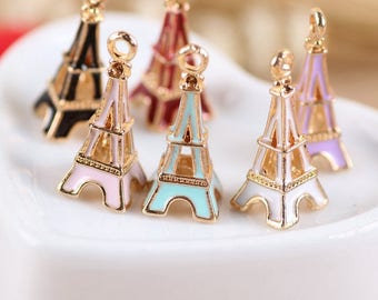10pcs Fashion Oil Drop Enamel Gold Tone Plated Eiffel Tower Shape Pendant Jewelry ,Eiffel Tower Charms for DIY Necklace Bracelet Accessories