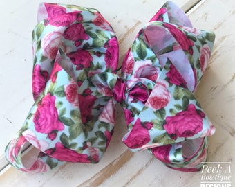 Vintage rose, hair bow, floral hair bow, pink hair bow, flower hair bow