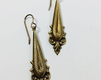 Ornate Brass Drop Earrings by Ten dollar Studio where all items are always Ten Dollars