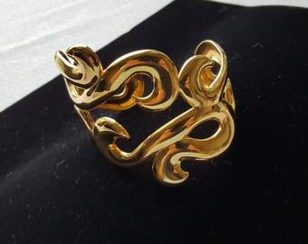 Vintage Filigree Wide Cuff Goldtone Bracelet