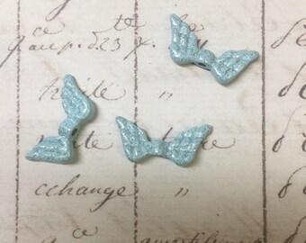 6pcs Enamel Wing bead, Light Blue with Glitter, double-sided angel wing, 6pcs