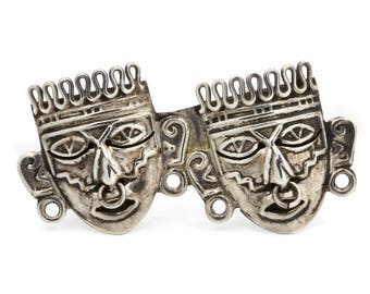 Tribal Mask Brooch, Aztec Mexico Pin, Antique 1940s Mexican Jewelry, Mayan Mask Pin, Warrior Brooch, 925 Sterling Silver, Double Face Mask