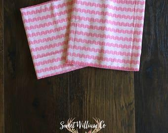 Pink Modern Cheveron Burp Cloths, Pink Modern Cheveron Burp Rags, Set of 2