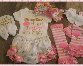 Newborn, Coming Home, Sweeter Than Cotton Candy, Girl Baby Shower, Complete Outfit