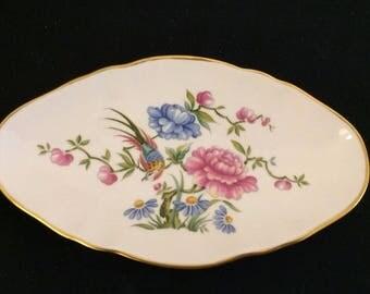 Vintage Spode Trinket Dish / Fine Bone China Trinket Dish / Oriental Bird Design / Made in England / 1980's China / 1980's Spode