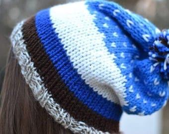 Blue, White, and Brown Beanie