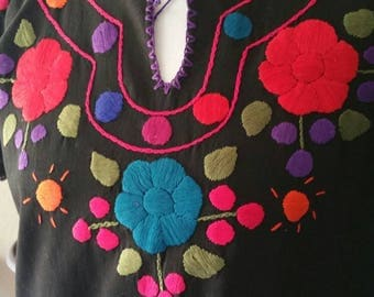 Black Mexican Hand Embroidered Blouse with Short Sleeves