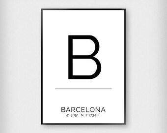Barcelona | City | Black and White | Coordinates - Fashion - Poster