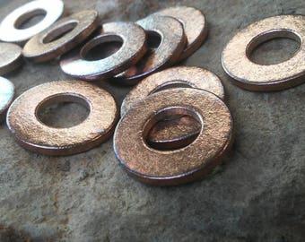 20pc, Metal Stamping Blanks, Washer Stamping Blanks, Antiqued Pure Bronze Metal, Jewelry Washers, Metal Washer Blanks