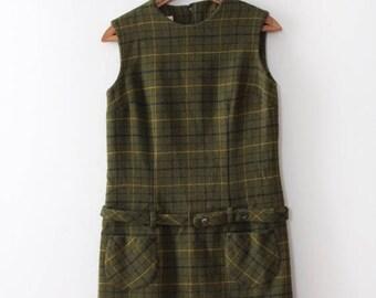 SUMMER SALE vintage 1960s plaid dress // 60s green wool plaid shift dress with belt