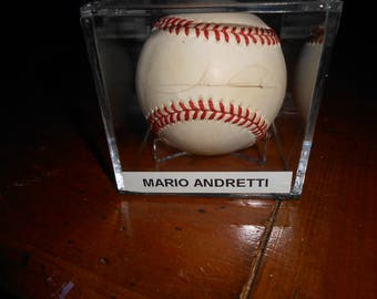 MARIO ANDRETTI SIGNED ind. car racer ball/jsa sticker only