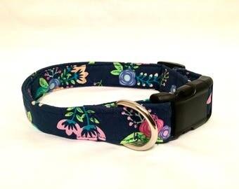 Navy floral dog collar - flower dog collar - pink flower dog collar - pink dog collar -navy dog collar -girl dog collar