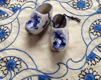 Vintage Delft porcelain little clogs