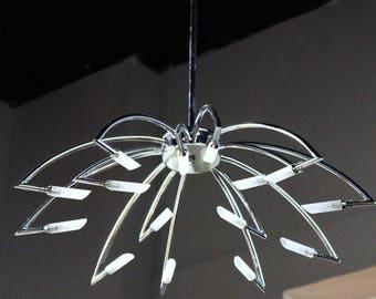 Mid century modern sciolari 12 arm chrome chandelier fixture 44h 15 arm mid century modern chrome chandelier ceiling light fixture pendant aloadofball Image collections