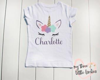 Girl Unicorn Birthday Shirt, Custom Unicorn Shirt, Birthday Shirt For Girls, Personalized Unicorn Shirt, Toddler Girl Birthday, Unicorn
