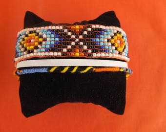 yarn and suede Cuff Bracelet beads.