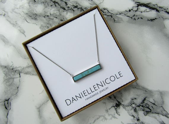 Turquoise Bar Necklace, Turquosie Pendant Necklace, Dainty Necklace, Simple Necklace, Layering Necklace, Statement Necklace, Boho Jewelry