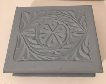 Hand Carved Wood Storage Box/ Jewelry Box/ Tea box/Blue Box