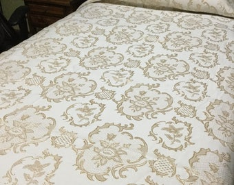 Vintage Gold And Cream versatile  Bed Spread. Elegant bed Spread.French Style Bed spread.