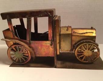 Vintage Automobile/  Book Ends / book display/ Shelf display /