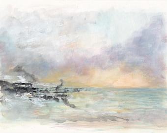Coast, Acrylic, Painting, Art, Abstract, Purple, Blue, Yellow, Grey, Sea, Ocean, Modern