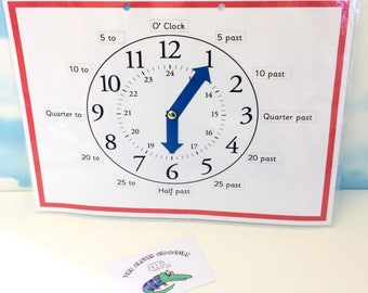 KS2 clock with movable hands, analog times, digital times, learning sheet, KS2, maths aid, numeracy, telling the time, homework resource