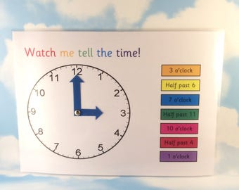 Telling the time, Moving clock, Teaching resource, KS1, KS2, Nursery, Reception, Clocks, moving hands, home schooling, maths aid
