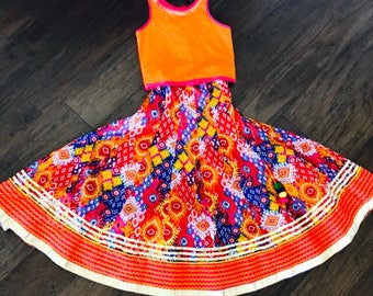 Cotton Printed Lehenga/ Girls Lehenga Choli/Orange Lehenga Choli/Girls Chaniya Choli