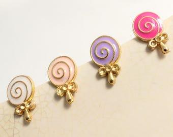 Minimalist Gluecolors Lollipops Gold Brass Side Silver Stud Earrings/Silver Stud Earrings,everyday post earrings(SE032)
