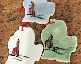 Handmade Michigan Ornament, Wine Gift Tag, Gift Tag, Grand Haven Gift Tag, Handmade Grand Haven Ornament, Grand Haven Lighthouse Gift Tag