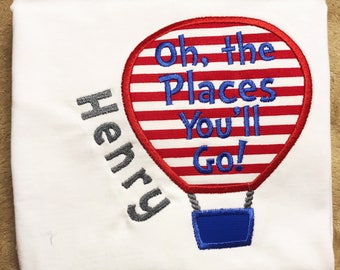 Dr. Seuss - Read Across America - Hot Air Balloon Shirt - All the Places you'll Go