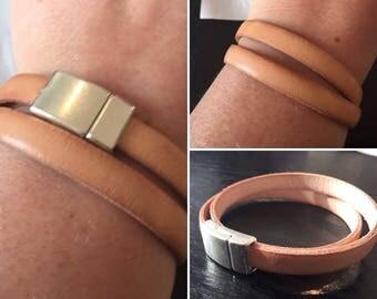 camel beige genuine leather bracelet