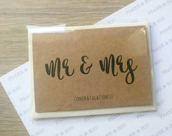 Mr & Mrs Congratulations – Kraft Card with Ivory Envelope