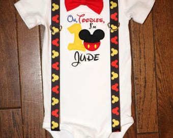 Oh Toodles Mickey Mouse 1st First Birthday Suspender and Bow Tie Shirt