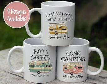 Happy Camper Mug Camping Happily Ever Gone Camping Adventure Awaits Personalized RV Coffee Mugs Your Choice Of Style