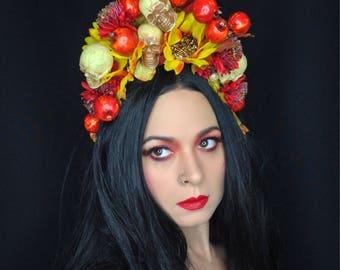 Halloween Skull Crown, Autumn Flower Crown, Dia de los Muertos headpiece
