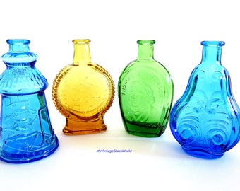 Vintage Wheaton Glass Bottles Miniature Blue Amber Green Instant Collection Near Mint